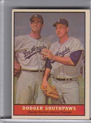 1961 TOPPS #207 DODGER SOUTHPAWS SANDY KOUFAX & JOHNNY PODRES 1077