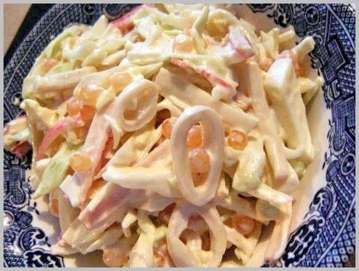 3 простых салатика с кальмарами