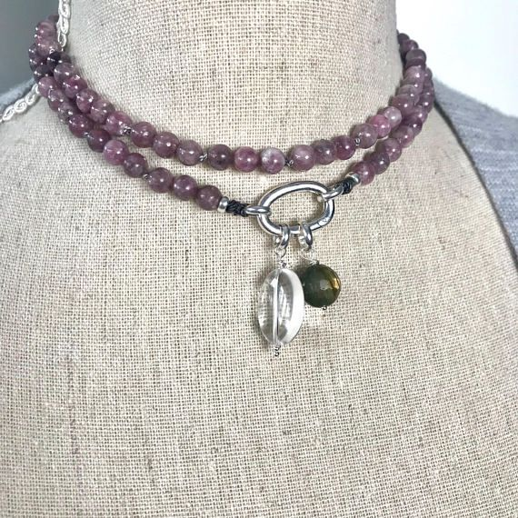 Lepidolite Mala Necklace with Sterling Clasp to Add Gemstones and a beautiful boho necklace with special energy
