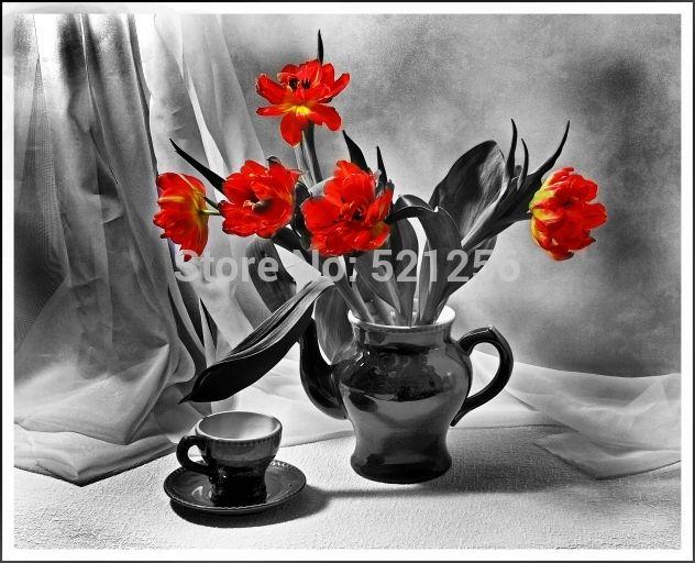 Современные стены искусства украшения дома напечатаны цветок живопись маслом отпечатки на холсте безрамное фотографии красный тюльпан цветочный горшок натюрморт