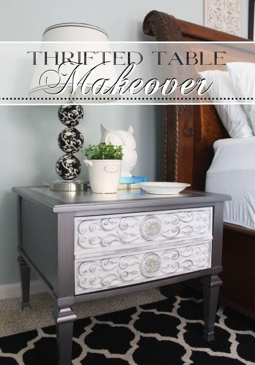 Martha Stewart Thundercloud Metallic Paint and Silver Leaf Top, with Silver Rub 'n' Buff on drawer details.