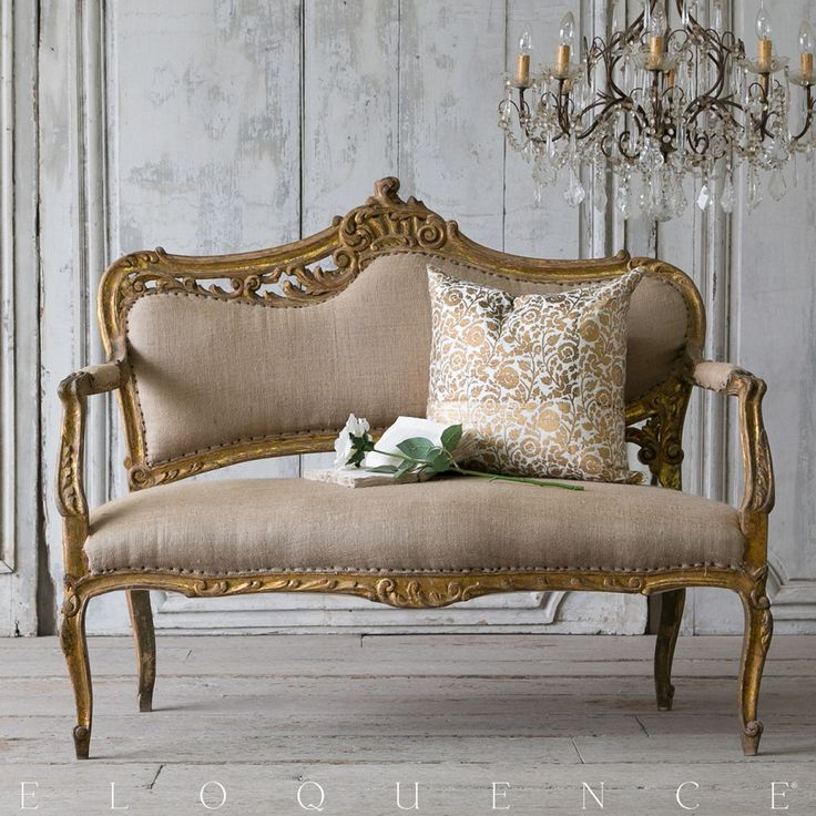 Different Types Of Sofa Settee Sock Arm: Eloquence® Louis XV Gold Shimmer Settee $3100.00