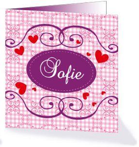 Lief geboortekaartje met hartjes. Dit geboortekaartje komt uit de collectie 'Lieve zoete meisjes geboortekaartjes van KaartopMaat