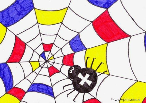 Juf Jaydee: Spin in het web - In de stijl van Mondriaan