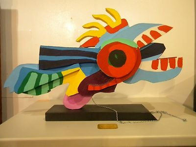 "Karel Appel ""Flying Fish"" wooden sculpture hand painted"