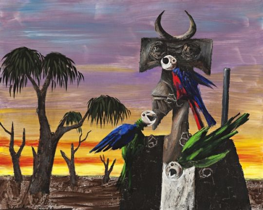 Albert Tucker (Australian, 1914-1999), Intruder and Parrots, 1964-68. Synthetic polymer paint on composition board, 122 x 152 cm.