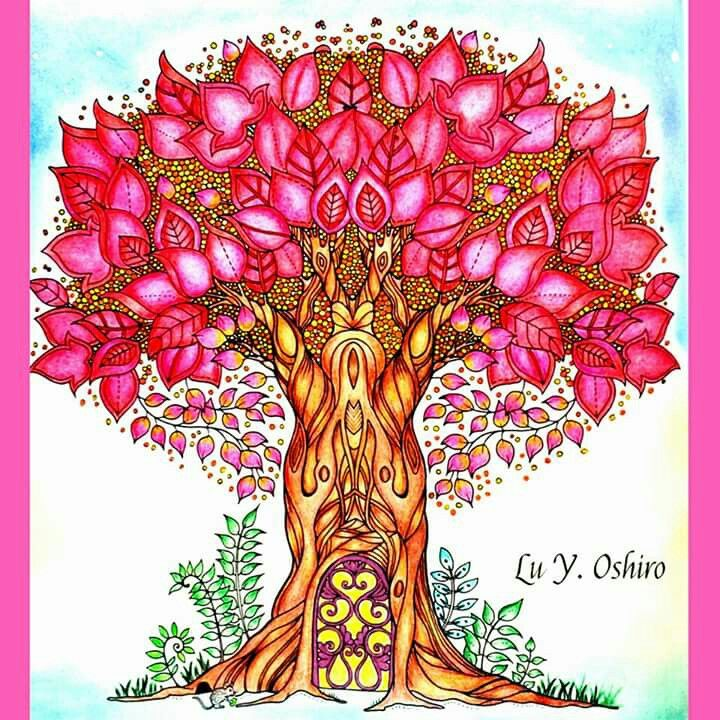 Coloring Books Adult Colouring Zen Doodle Colour Schemes Zentangle Johanna Basford Secret Garden Bird Tree Happy Art