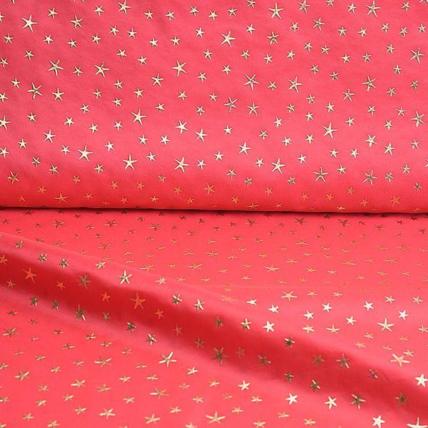 Weihnachtsstoff, Taft, goldene Sterne, rot von materiallager auf DaWanda.com