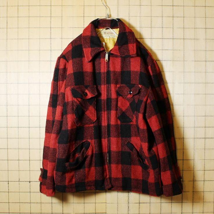USA製 60s ビンテージ 古着 Melton メルトン チェック ウール 中綿 ジャケット レッド ブラック メンズL相当 TALONLジップ