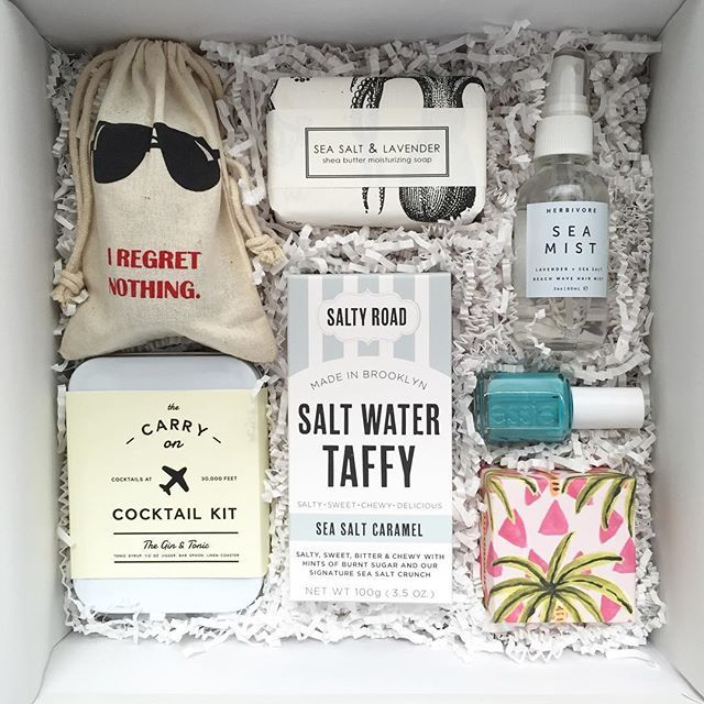 Welcome gifts for the most fun bachelorette party ever! MIAMI!! With @wandpdesign @saltyroad @essiepolish @herbivorebotanicals @formulary55 and hidden in that cool pouch are some hangover curing bitters by @dramapothecary!