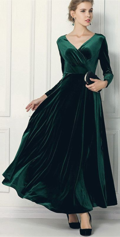Long Sleeve Maxi Velvet Dress