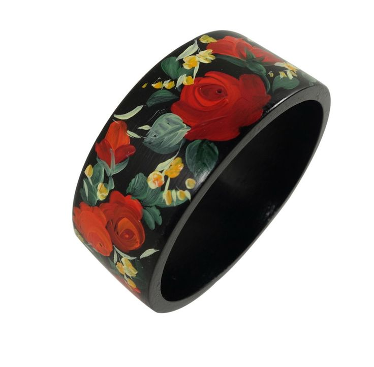 Wooden bangle bracelet hand painted by ArtWilk(R)