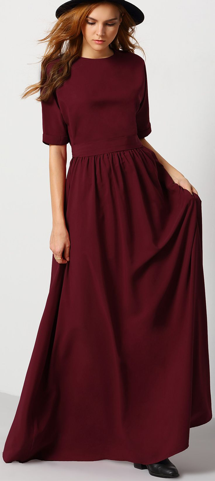 Occasion & Party Dresses -  Burgundy Round Neck Maxi Dress- SheIn.com