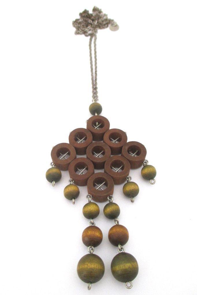 aarikka, Finland - large green & tan wood kinetic pendant necklace #Finland #necklace