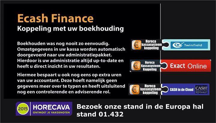 Koppeling Ecash horeca kassasysteem met boekhoudings software #twinfield #Exact online #Cash online