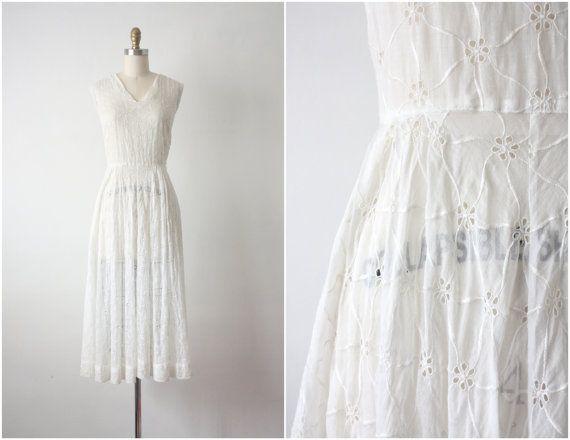 1950s dress / white eyelet dress / 50s wedding by 1919vintage