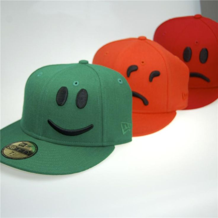 YesNoMaybe 3 Pack New Era 59FIFTY Baseball Cap (Black on Red Green Orange)