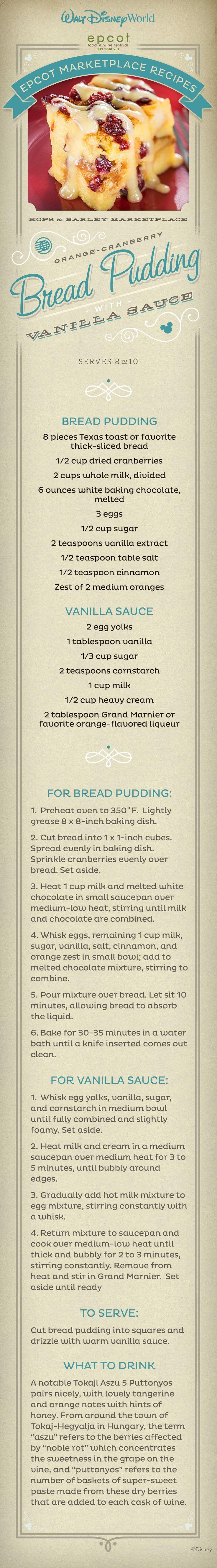 Disney's Orange-Cranberry Bread Pudding #recipe with Vanilla Sauce
