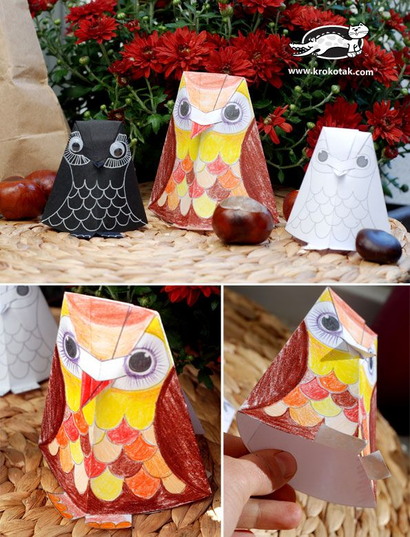 Paper owl coloring without gluing, cute need to use google translator, although picture/diagrams make it pretty self explanitory.
