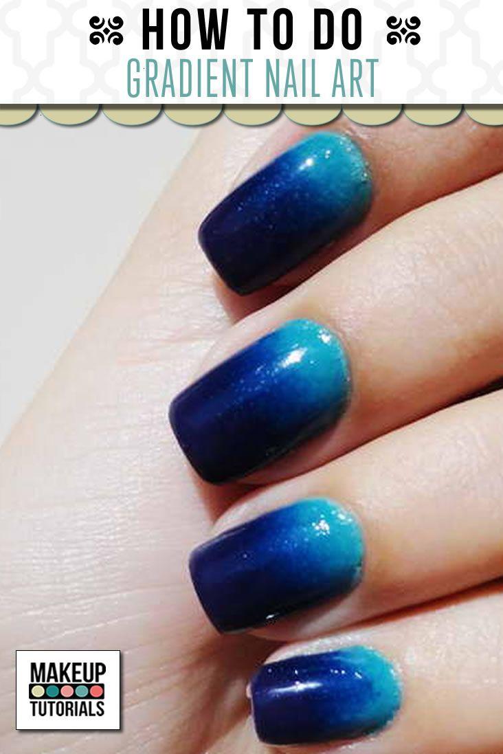 Blue glitter ombr 233 stiletto nails - Gradient Nail Art