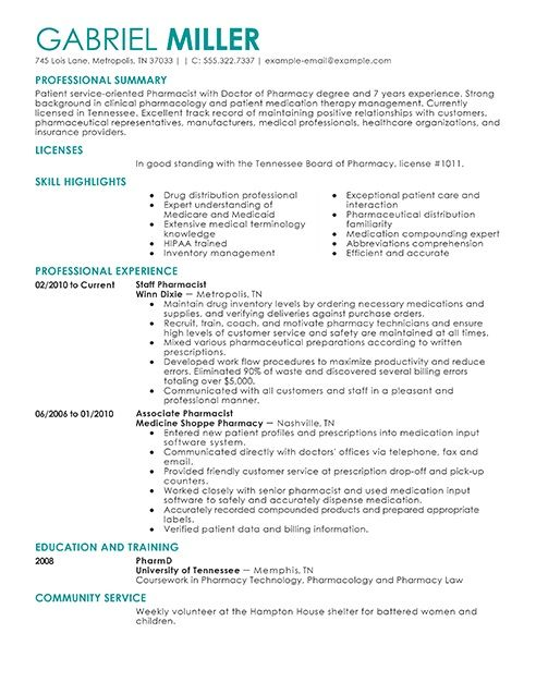 best pharmacist resume sample