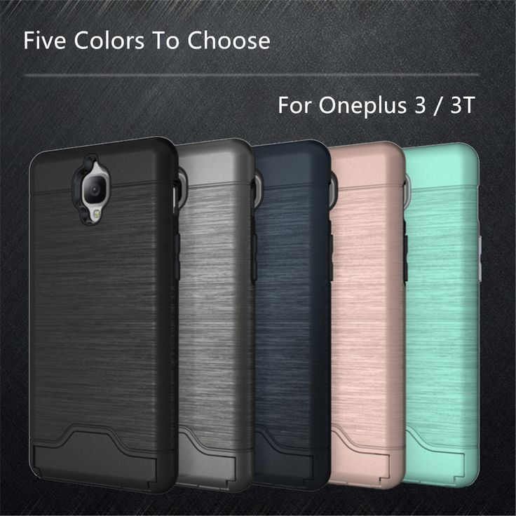 Luxury Case OnePlus 3T Cover Shockproof Silicone + Plastic Brushed Case For Oneplus 3T Case OnePlus 3 Phone Stand Card Slot ]