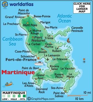 Map of Martinique, Martinique Map,   Map of Caribbean Islands