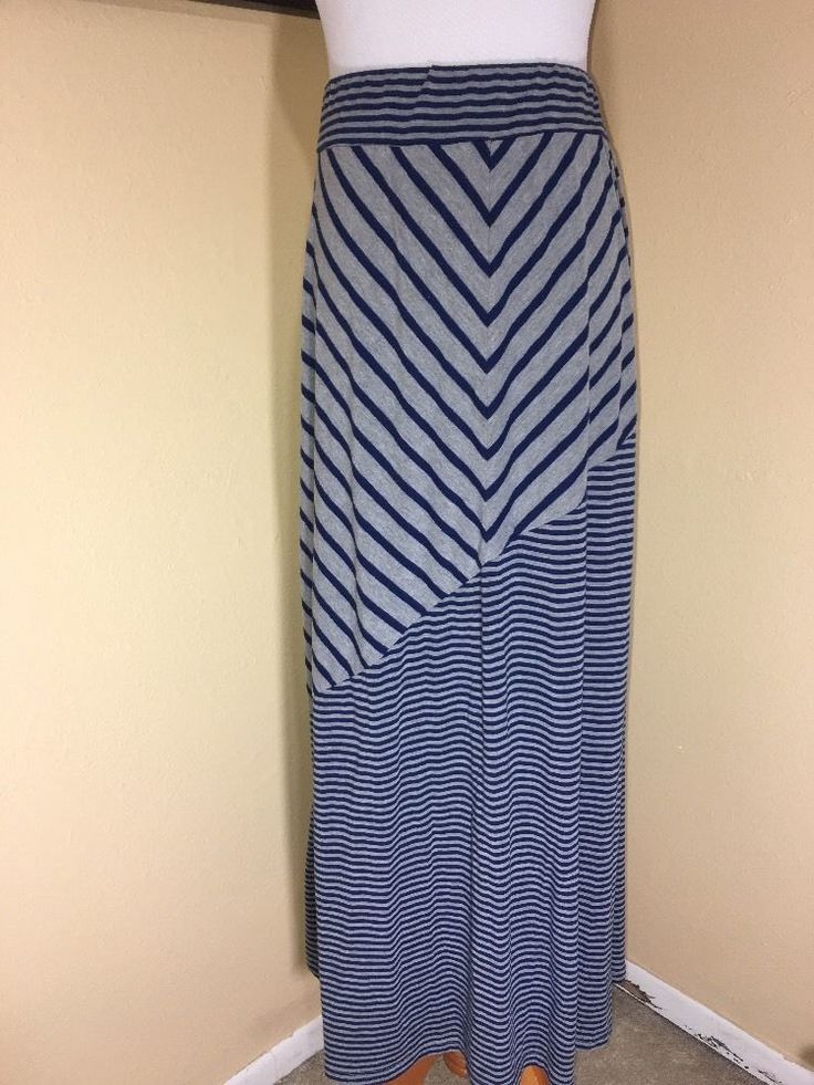 Lane Bryant Seven7 Maxi Skirt 18W Pull On Gray Navy Blue Stripe Nautical Summer  | eBay