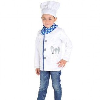 Disfraz de chef de alta cocina con el que los niños podrán empezar a elaborar las más deliciosas recetas y triunfar entre los comensales.  Talla: 4.   Incluye:  - Chaqueta de Chef.  - Pañuelo.  - Gorro de Chef.