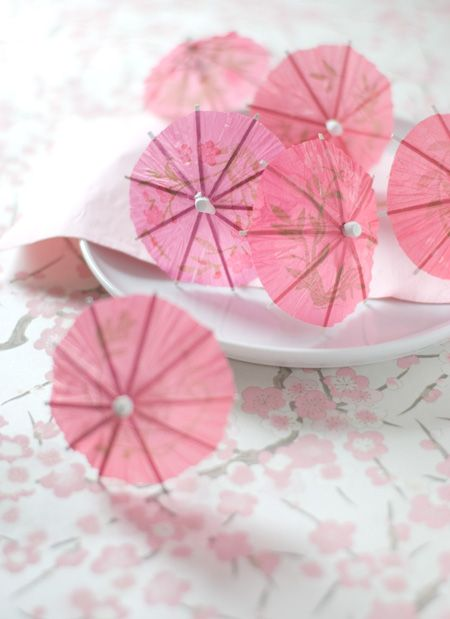 Cute little pink umbrellas