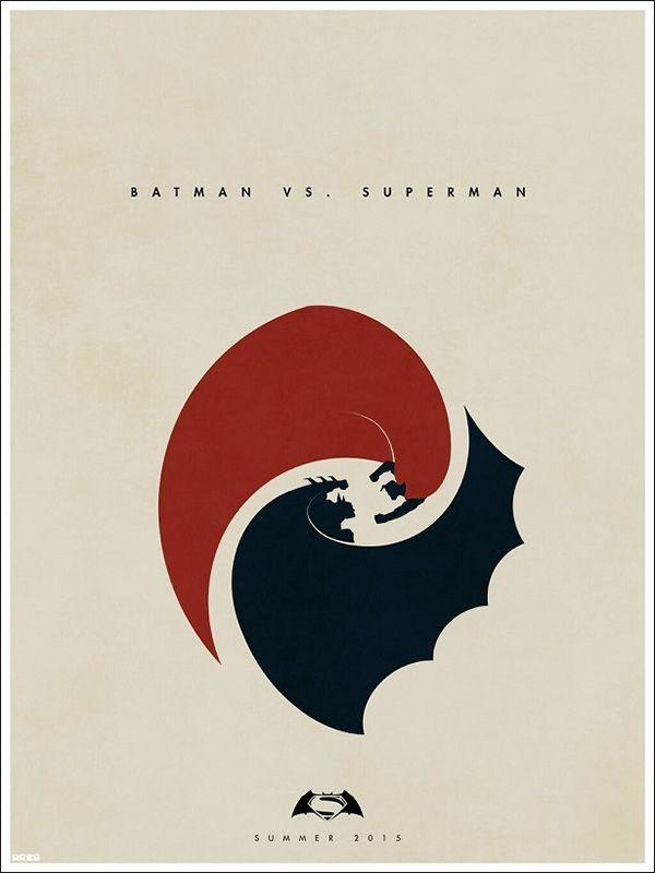 Artista cria pôster fodástico e minimalista de Batman vs Superman.
