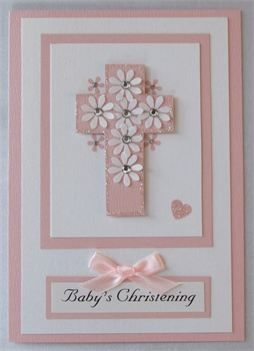 Handmade Christening Card with a cross