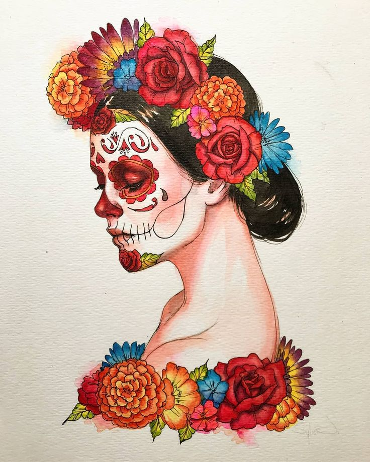 Are you guys excited for Dia de los Muertos? Mexican Skull Art, Mexican Artwork, Mexican Art Tattoos, Mexican Paintings, Mexican Skeleton, Day Of The Dead Drawing, Day Of The Dead Artwork, Art Sketches, Art Drawings