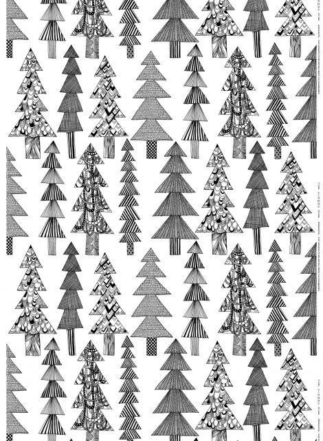 Kuusikossa cotton (white, black) | Fabrics, Cottons | Marimekko