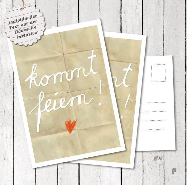 30 Hochzeitseinladungen Kommt feiern!, individuell von EINE DER GUTEN - Bücher für ein tolleres Leben auf DaWanda.com