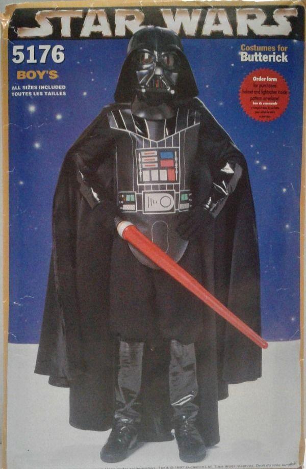 Uncut Star Wars Darth Vader Butterick 5176 Child Costume Sewing Pattern 03166426 #Butterick