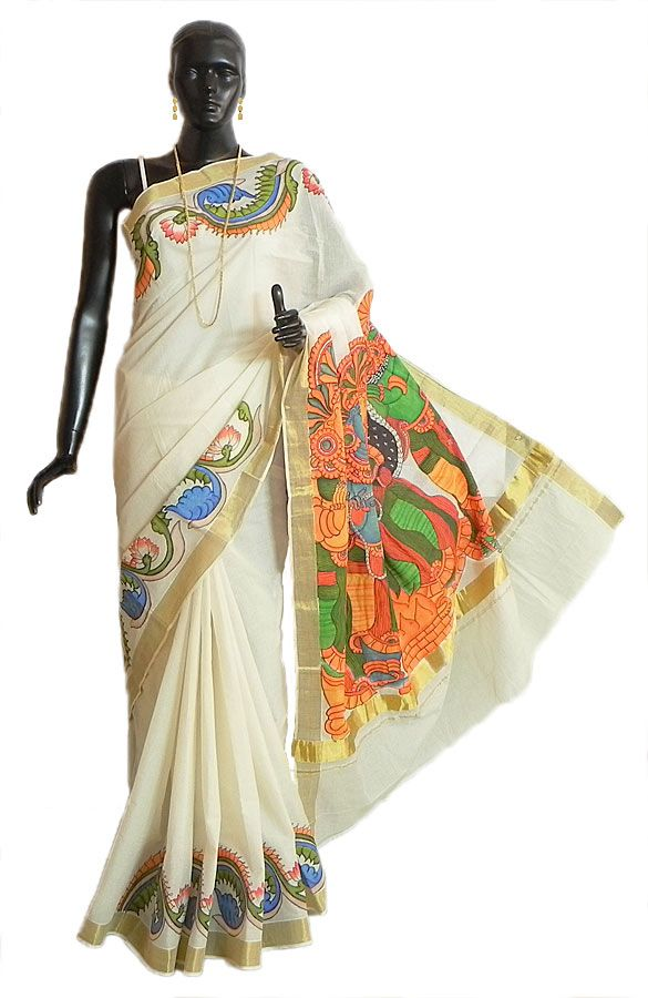 Off-White Kasavu Saree with Golden Zari Border and Hand Painted Temple Murals on Pallu (Cotton))