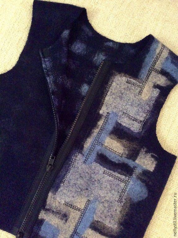 Купить Тетрис - валяние из шерсти, жилет из шерсти, войлок ручной работы, тёмно-синий
