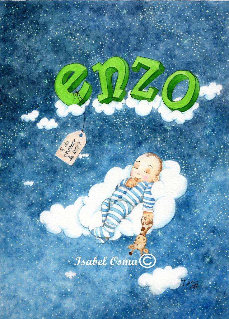 Dulces sueños Enzo, Ilustración en acuarela de Isabel Osma