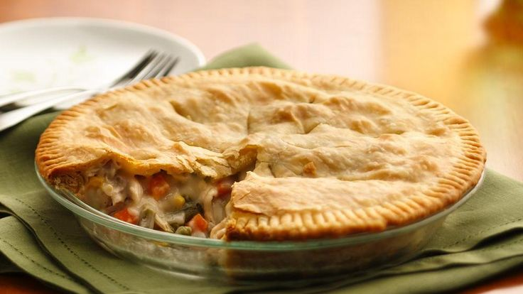 Delicious easy Chicken pot pie-- AMAZING!! I feel like A pro chef when I make this. Added one large cooked potato, and used a large can of white chicken breast, carrots, and peas. Also remember to use a tinfoil ring to save the crust from over cooking.