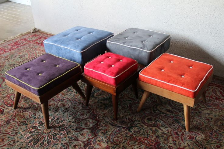 Mid Century Modern Ottomans from Second Charm. Wonderful pop colors and punchy piping! https://emfurn.com/