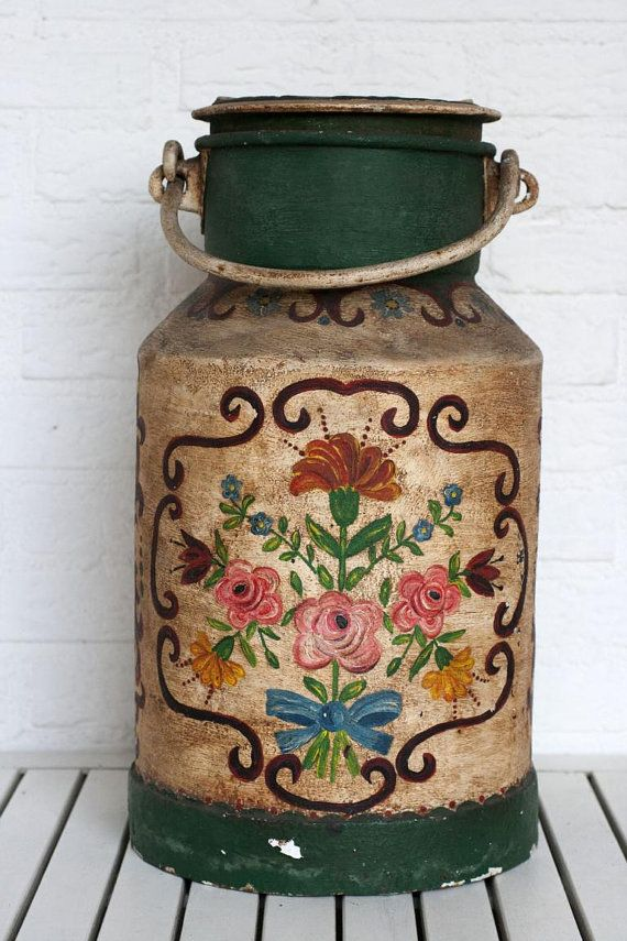 Antique German Folk Art Hand painted Large by CirceCollectables