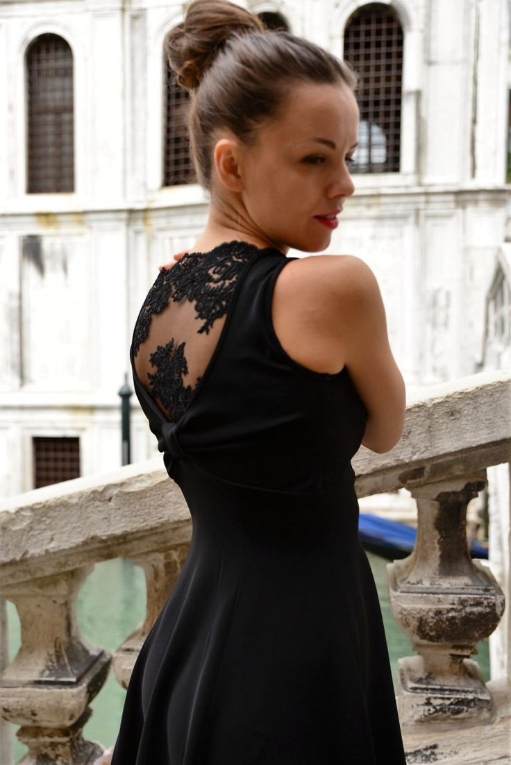 Black A line dress with lace back
