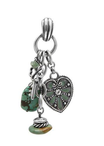 EN1114 - Pendant with mint enamel, Swarovski crystal and turquoise semi precious stones