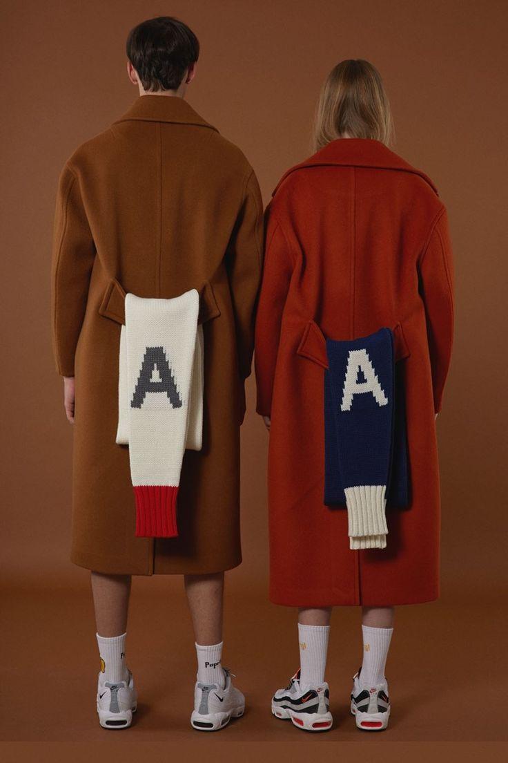 Oversize coat Camel&orange A muffler twin look