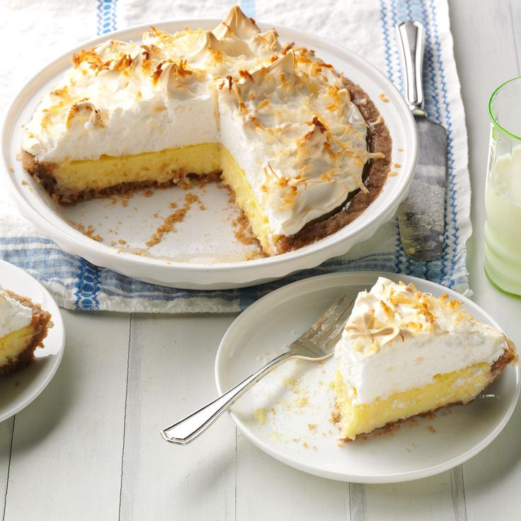 Irresistible Coconut Cream Pie Recipe -My husband and I grow 500 acres of wheat on the farm his family homesteaded in 1889. I grind my own flour and love to use it in this recipe. The easy, pat-in crust has a rich grain flavor. It's irresistible topped with old-fashioned coconut cream and a fluffy meringue. —Roberta Foster, Kingfisher, Oklahoma