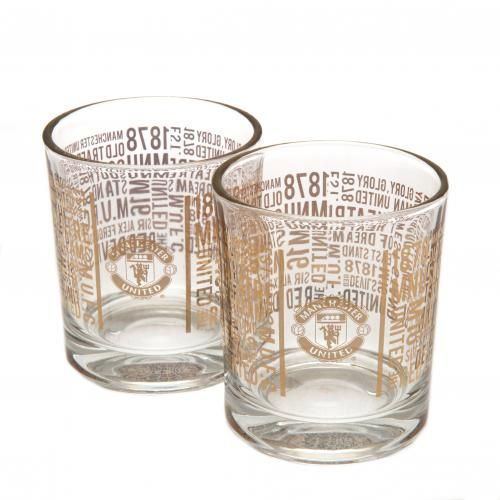 A pair of beautifully styled Manchester United whiskey glasses featuring the club crest and repeated iconic Man United wording. FREE DELIVERY ON ALL GIFTS
