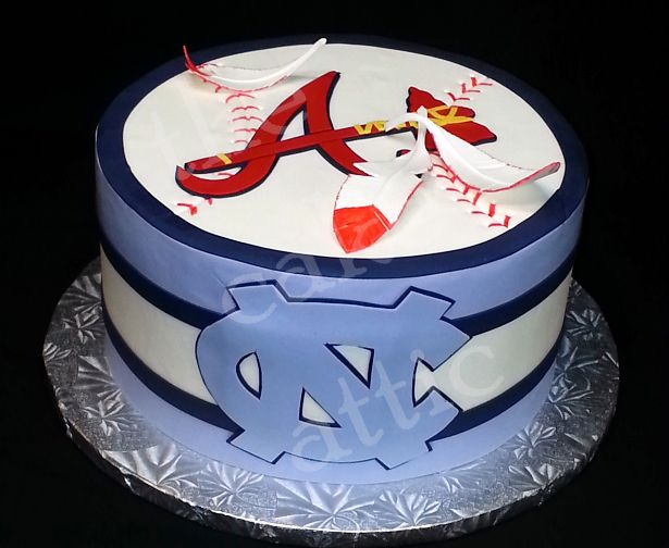 Groom S Cake For Atlanta Braves Baseball Fan And Unc Alumnus By Thecakeattic Com In Salisbury Nc Baseball Grooms Cake Grooms Cake Baseball Cake