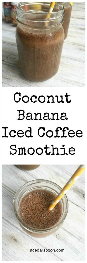 Smoothie + iced coffee collide into a Coconut Banana Iced Coffee Smoothie.  The perfect morning drink or late afternoon pick-me-up of coconut milk, bananas and iced coffee. // A Cedar Spoon #ad #IC #FolgersFridays