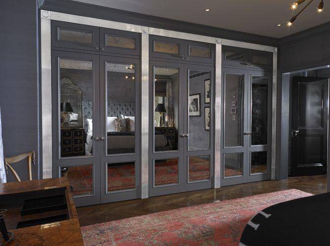 Elizabeth Bauer Design - master bedrooms - dark gray bedroom, mirrored closet doors,